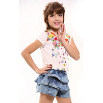 Camiseta Infantil Menina Flores E Short-saia C/babados Jeans