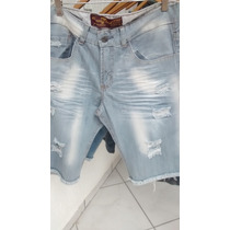Bermuda Jeans Masculina Destroyed 3 Cores /caimento Perfeito