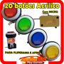 Kit 20 Botoes Acrilicos Para Fliperama E Arcade Com Micro