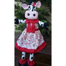 Boneca De Pano Vaca Malhada 40cm