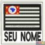 Patch Bordado Termocolante- Bandeira São Paulo C/ Nome 8x7,5