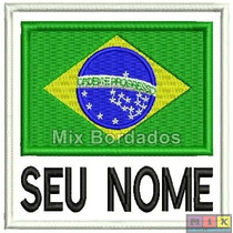 Patch Bordado Termocolante- Bandeira Brasil C/ Nome Fb 8x7,5