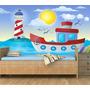 Papel Parede Infantil Marinheiro Barco Mar Farol Navio M48
