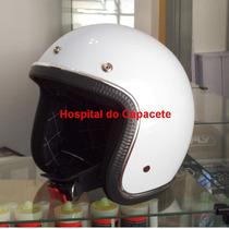 Capacete Custom Old School Branco - Forro Personalizado
