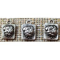 Lote 3 Bulldog Pingentes, Aço Miniatura Dupla Face Bull Dog