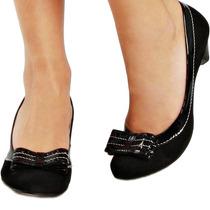 Sapato Scarpin Couro Legítimo Preto Boneca Salto Baixo 37