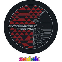 Capa Roda Estepe Ecosport 2013 - Freestyle, Vermelha E Prata