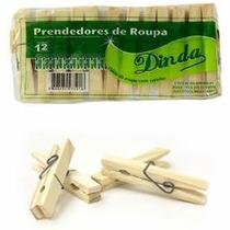 Prendedor De Roupas Em Madeira 108 Peças - Dinda