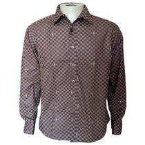 Camisa Social Masculina Louis Vuitton Quadriculada Marrom