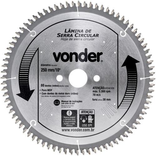 Disco De Serra Para Madeira 250 X 30 Mm 80 Dentes - Vonder