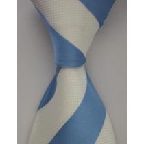 Gravata Seda Listras Larga Azul Branco Feita Mão Gvt 757