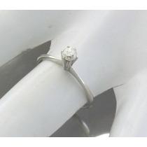 Anel Solitario Em Ouro Branco 18k Com 25 Pts Diamante J16465
