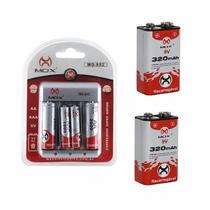 Carregador De Bateria E Pilhas + 2 Baterias 9v Recarregável