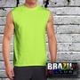 Camiseta Machão Sem Manga Neon Malha Dry Fit 100% Poliester