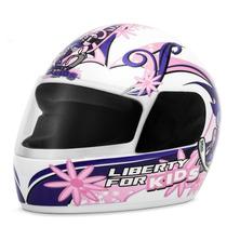 Capacete Moto Feminino Protork Liberty For Kids Lilas Branco