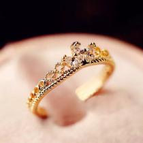 Anel Coroa Zirconia Folheado Dourado