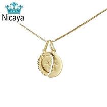 Nicaya Corrente Veneziana + Pingente Cara Metade Ouro 18k