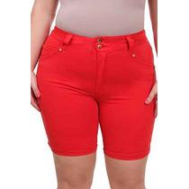 Bermuda Color Vermelho Plus Size Moda Maior Elastano Tam. 50