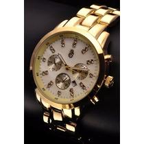 Relógio Original Atlantis Dourado Estilo Michael Kors Metal