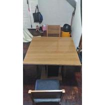 Mesa De Jantar Com 04 Cadeiras 100 X 100 Usada Mdf Marron
