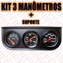Kit Manômetro 3 Relógio Voltímetro Pressão Óleo Temp Agua