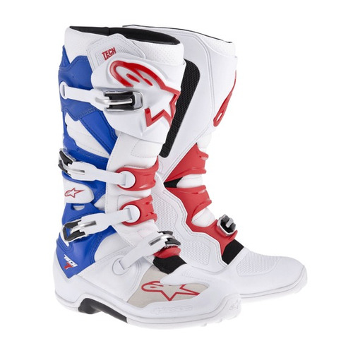 Bota Alpinestars Tech7 Enduro Branco / verm / azul 11 ( 42 / 43 ) Rs1