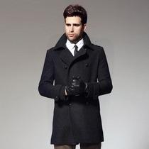 Sobretudo Importado M- Masculino Lã Designer Elegante Preto