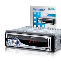 Rádio Mp3 Automotivo Usb Sd Silver Multilaser P3167 + 4gb