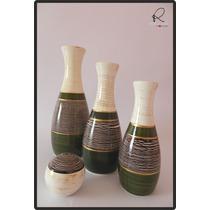 Cerâmica Esmaltada - Trio De Vasos E Bola