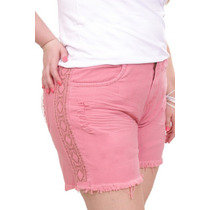 Shorts Jeans Rosa Destroyer Plus Size Bordado Étnico Tam 48