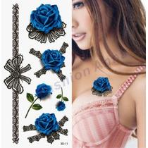 Tatuagem Temporaria 3d Grande Muito Real Flores E Rosas