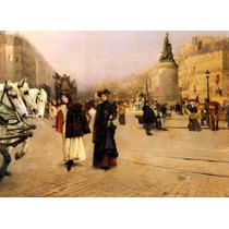 Mulheres Cavalos Boulevards França Pintor Barrau Tela Repro