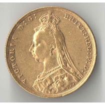1 Libra Inglaterra 1889 Ouro 7,98 Gramas Ouro 917