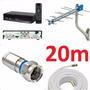 Kit Comversor De Tv +antena +20mt De Cabom +4 Conectores