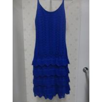 Vestido Curto Croche Azul Babado