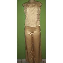 Calça Pantalona E Blusa Festa Dourado Tamanho 42