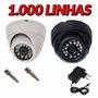 Camera Dome Ccd Infra Vermelho 24 Led 20mt 1000 Linhas 3,6mm