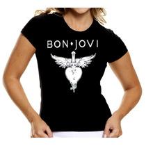 Camisa Bon Jovi Baby Look Feminina Camiseta Mulher Bandas