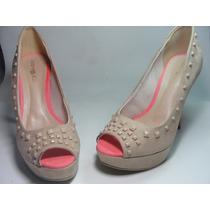 Sapato Peep Toe Bege Rosa Meia Pata Salto Alto Rosa 37a 39