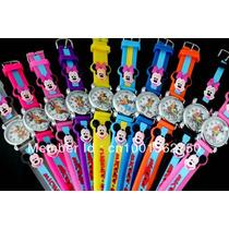 Relógio Infantil Da Minie E Do Mickey - Pronta Entrega