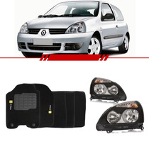 Kit Farol Clio 03..2011 2012 Sport Black + Tapete Carpete