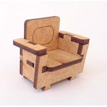 Sofá Um Lugar 40 - Móveis -miniaturas - Mdf Crú