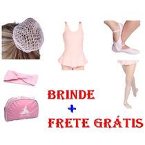 Frete Grátis Kit Ballet Rosa C/ 6 Peças Infantil + Brinde