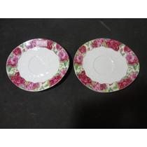#10320 Par De Pratos Parede Em Porcelana Italiana Rosas!!!