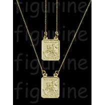Escapulário São Jorge Em Prata 925 Banhado Ouro - Dourado