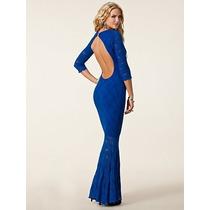 Vestido M- Modelo Importado Longo Decote Sensual Renda Azul