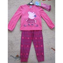 Pijama Peppa Pig 03 Peças 12/18 Meses C/ Calça, Blusa E Meia