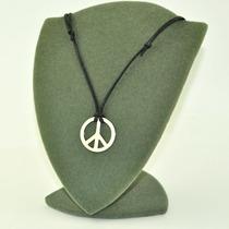 Cordão Com Simbolo Da Paz Folheado A Prata - Frete Grátis