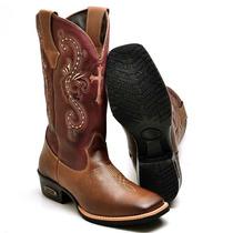 Bota Feminina Texana Country Couro Bovino 8098f Café-vinho