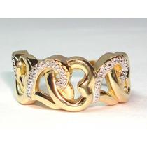 Pocao2005-anel Ouro18k 750 Coraçoes Diamantes Frete Gratis